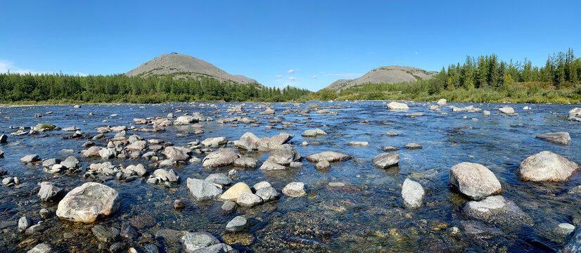 Beautiful summer mountain river landscape.