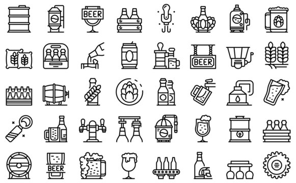 Brewery icons set outline vector. Beer alcohol. Beverage can