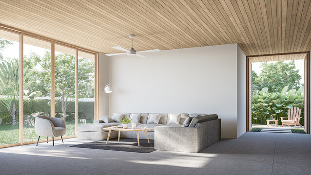 Modern contemporary loft living room with open door to garden 3d render The Rooms have concrete tile floors ,wooden plank ceiling,decorate with light gray fabric furniture