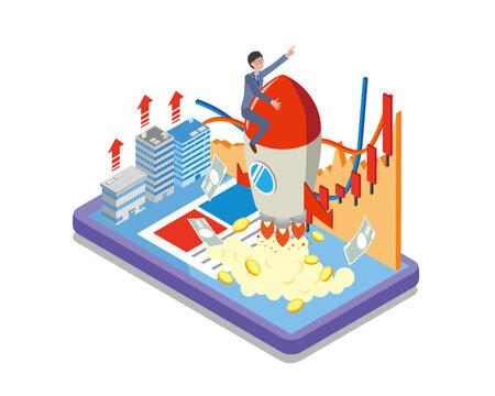 株価が上がっていくイメージのアイソメトリックイラスト