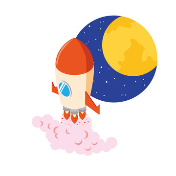 月に向かって出発するロケット