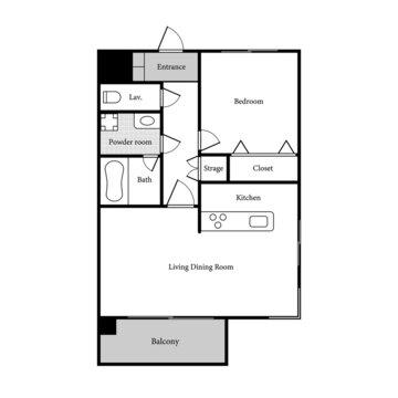 Apartment sample layout. 1 Bedroom, 1 bathroom.