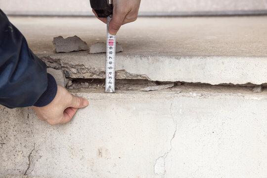 建物コンクリート基礎のクラック計測