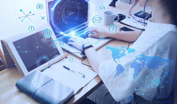 テクノロジーとホログラムのCGデザイン