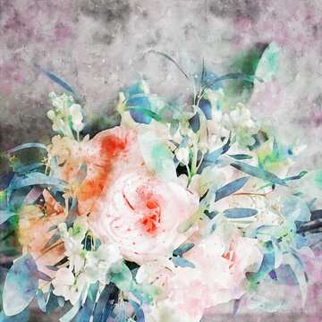 Beautiful watercolor rose flower bouquet illustration
