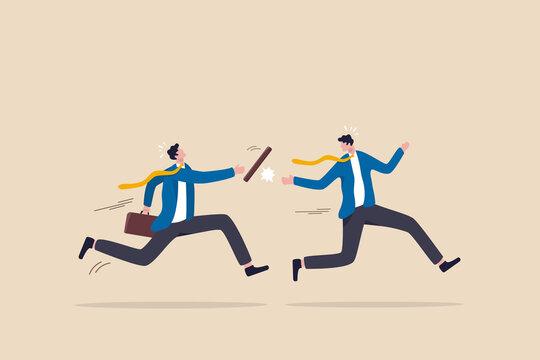 Fail baton pass, failure or mistake causing business lost, bad work transition, struggle relay, error or foul concept, distrust partner businessman fail baton pass losing business competition.