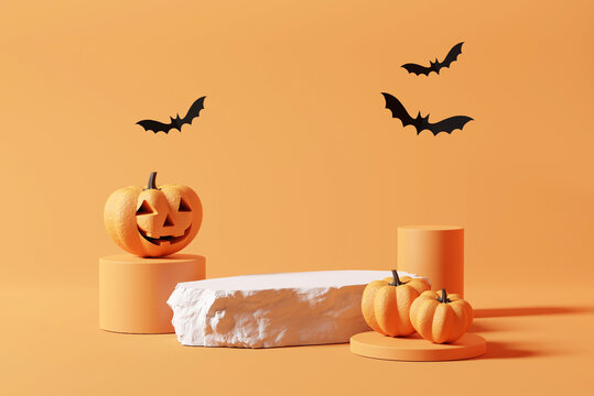 Stone podium and minimal abstract background for Halloween, 3d rendering, Smiling pumpkin character with bat on geometric shape, Stage for product
