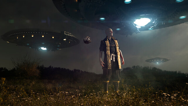 Alien landing in a dark landscape in the night with a little drone under three giant ufo flying with glowing blue light  - concept art - 3D rendering