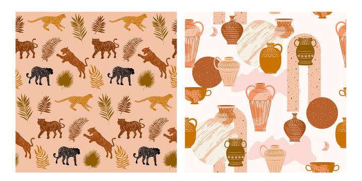 Set of two seamless pattern with Wild animals, plants and abstract shapes, ceramic vase. Aesthetic Modern Art, Boho Decor, Minimalist Art. Editable Vector illusration.