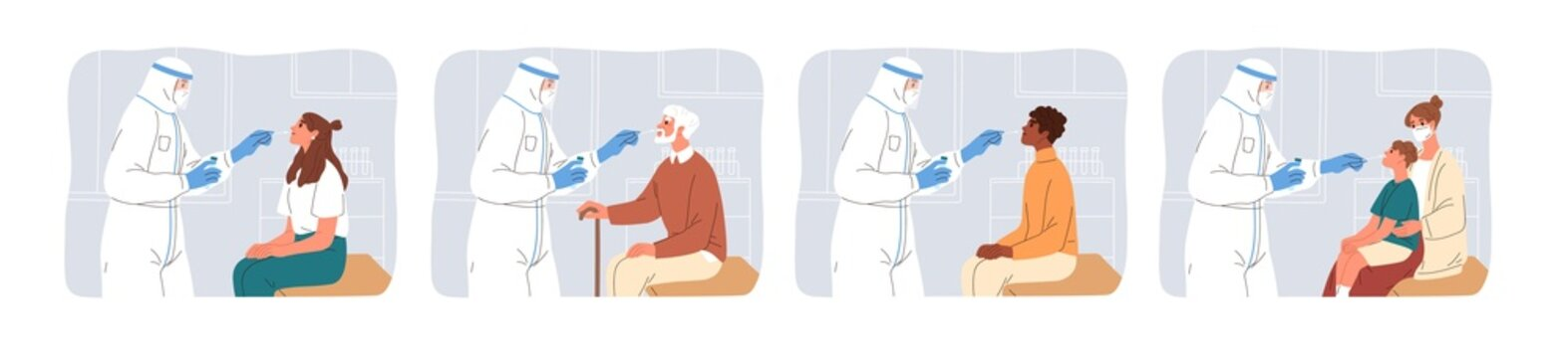 Doctor swabbing nasal sample for COVID PCR test and lab saliva analysis. Nurse checking people for coronavirus. COVID19 diagnostic and nasopharyngeal corona research concept. Flat vector illustrations
