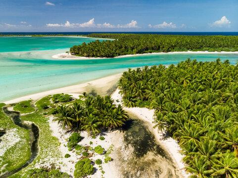 Aerial shot of Nikumaroro Atoll in Kiribati
