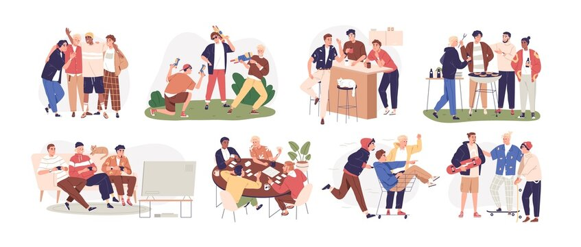 Happy men friends relaxing together at leisure time. Male friendship concept. Scenes with guys and buddies meeting, talking, playing, having fun. Flat vector illustration isolated on white background