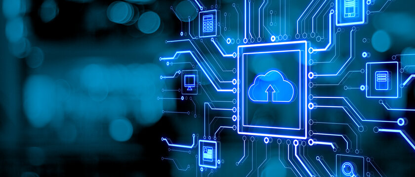 Abstract glowing circuit cloud computing interface on blurry blue bokeh background with mock up place. Information, technology and network concept. 3D Rendering.