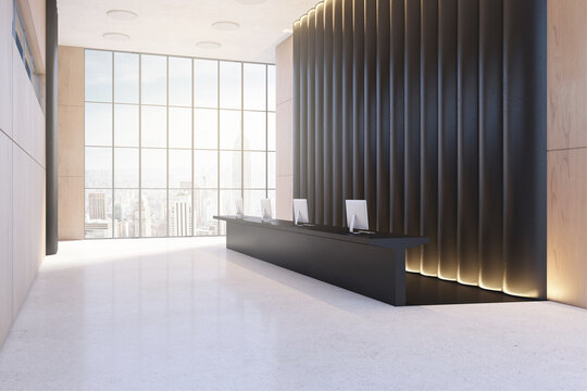 Modern black and wooden office lobby with reception desk and windwo with city view. Waiting area concept. 3D Rendering.