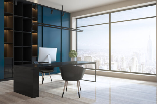Modern blue and wooden home office interior with workplace, bookcase, window with city view and daylight. 3D Rendering.