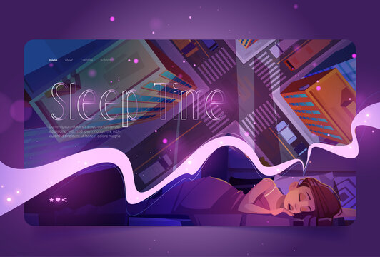 Sleep time website with woman naps and top view of city street. Vector landing page with cartoon illustration of girl sleeping in bed under blanket and see in dreams cityscape with building roofs