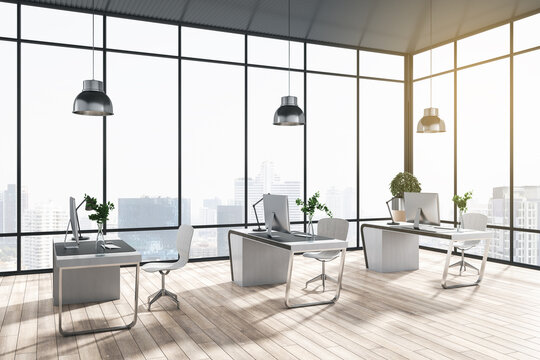 Modern coworking office interior with window and bright city view, desks, computer, monitors, chairs and wooden flooring with shadows. 3D Rendering.