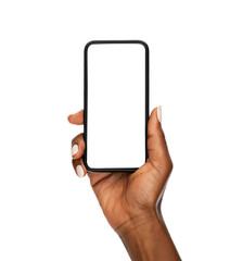 Fototapeta Black woman hand holding modern smart phone isolated on white background obraz