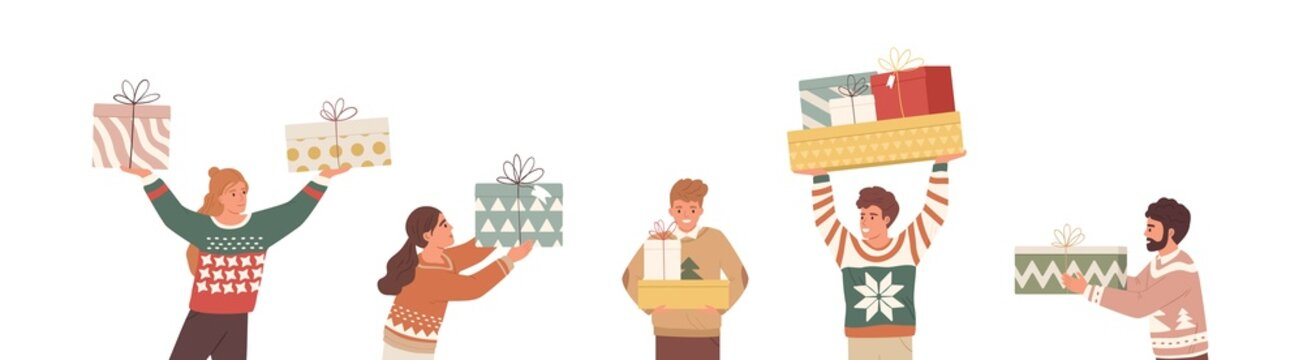Happy people with Christmas gifts. Set of merry man and woman holding and carrying wrapped New Year present boxes. Giftboxes for winter holidays. Flat vector illustration isolated on white background
