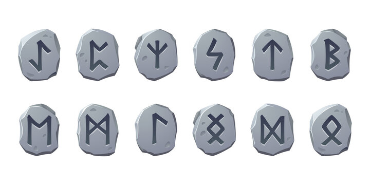 Rune stones with sacred glyphs for game design isolated on white background. Vector cartoon set of ancient stones with engraved magic signs, scandinavian runic characters
