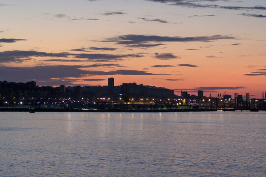 View of the skyline of the city of Coruña in Galicia, Spain