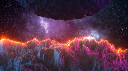 Sci-fi cosmic landscape 3D rendering illustration