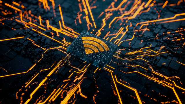 Wireless Technology Concept with wifi symbol on a Microchip. Data flows from the CPU across a Futuristic Motherboard. 3D render.