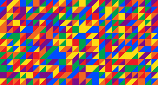 Vector background composed of triangles in gay pride flag colors