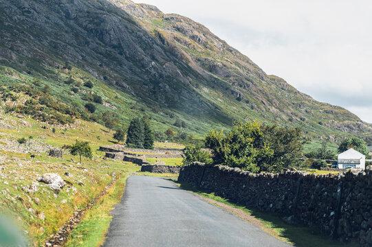 Village road in Lake District National Park