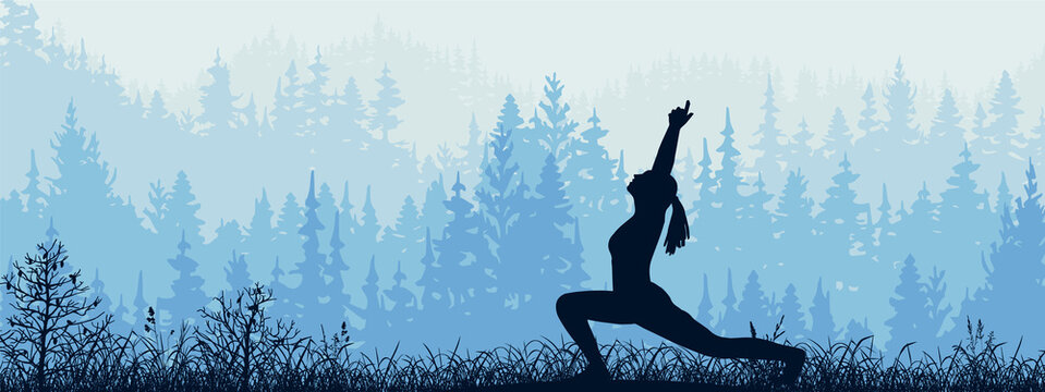 Horizontal banner. Silhouette of girl practicing yoga on meadow in forrest. Yoga sun salutation. Healthy lifestyle, trees, grass. Magical misty landscape, fog. Blue, gray illustration.