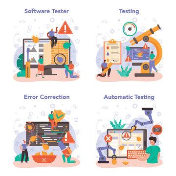 Software tester concept set. Application or website code testing.