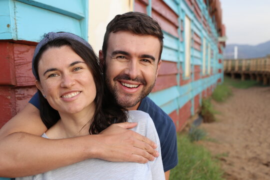Gorgeous young couple portrait with copy space