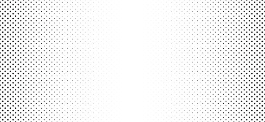 Black, gradient dot background. Black dot overlay. Flat vector pois, dots fade raster sign. Halftone circle texture. Round faded pattern. Retro, pop art. Seamless, geometric grid banner.  Dotted