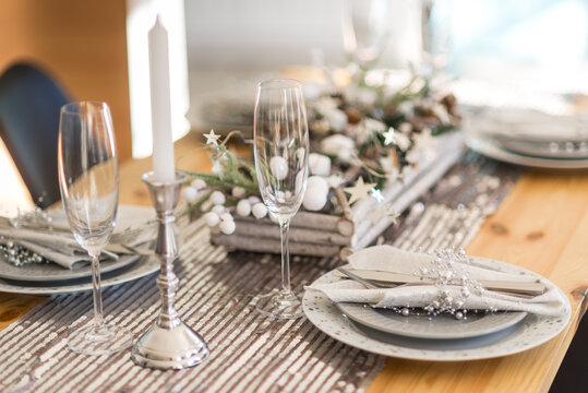 Decorated christmas served table in cozy atmosphere
