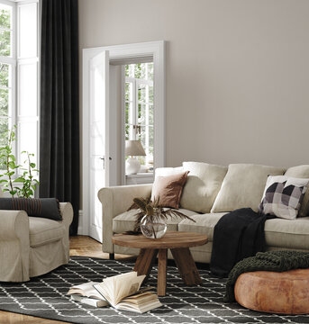 Home interior in neutral colors, living room with sofa, armchair and dry flower on table, 3d render