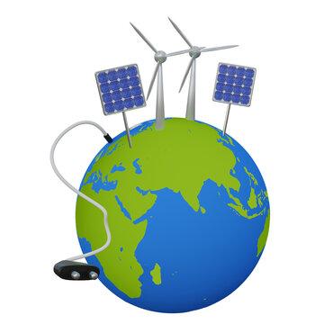 Konzept für erneuerbare Energien: Erde mit Windkrafträdern, Solarzellen und großem Stromstecker.