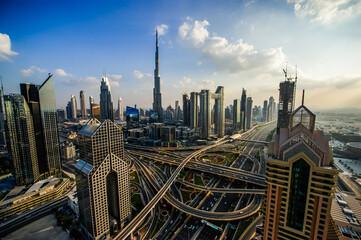 Panorama of down town Dubai modern city at night