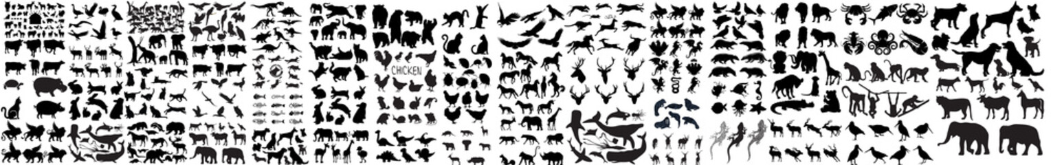 vector silhouettes of animals, Collection of vector animal silhouettes, High Quality Animals Silhouettes, forest vector animals silhouettes. Animal silhouettes, African safari animal silhouette