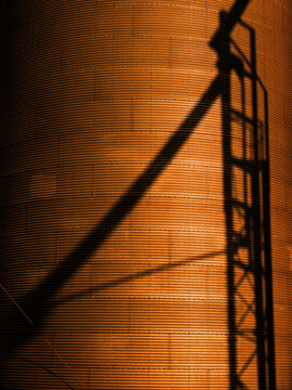Several Tall Steel Grain Silos for Storing Crops with Shadow of Stairs