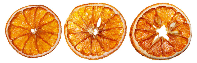 Fototapeta Dried orange slices on an isolated white background. obraz