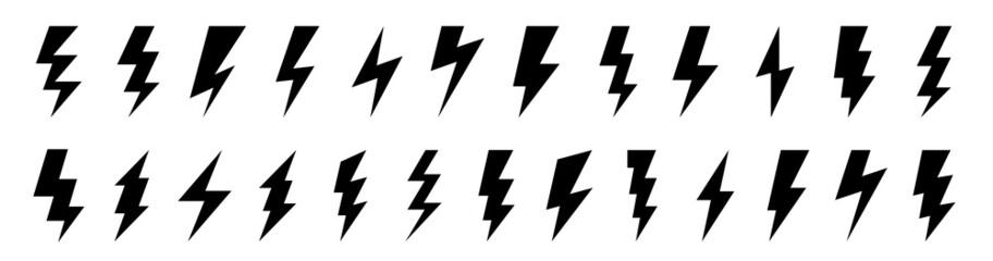 Fototapeta Lightning flat icons set. Outline and silhouette flash symbols. Lightning, high voltage or charge signs. Vector elements. obraz
