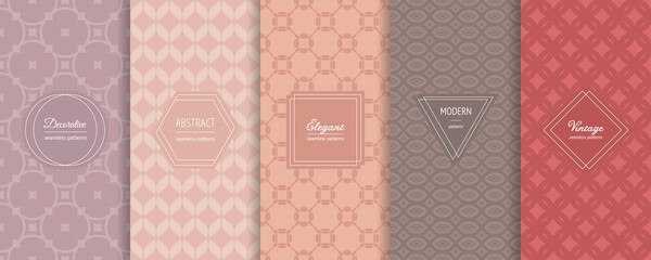 Obraz Vintage geometric seamless patterns. Vector set of stylish pastel backgrounds with elegant minimal labels. Abstract modern ornament texture. Trendy nude color palette. Design for print, decor, package - fototapety do salonu