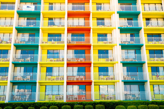Architectural image of colorful building with balconies and windows