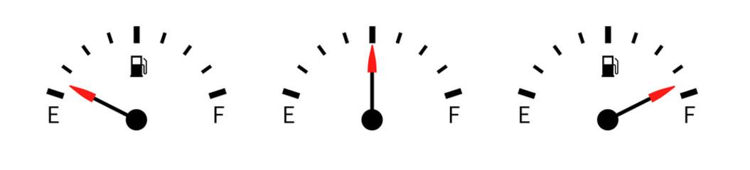 Fuel full icon set. Fuel gauge. Vector illustration