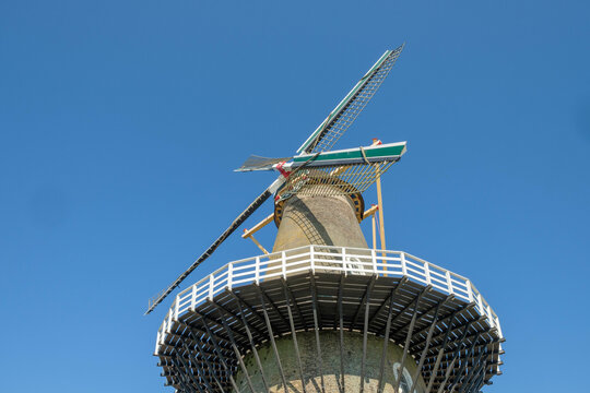 Windmill de Hoop in the fortified town of Gorinchem, (Gorkum), South Holland Province, The Netherlands
