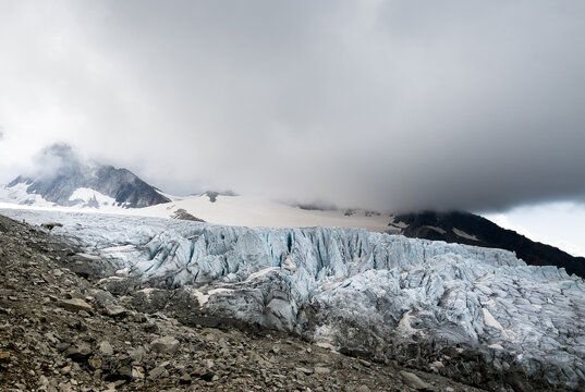 Blue Ice Glacier du Tour flowing from Aiguille du Chardonnet mountain slopes with cloudy morning sky. Climate changing, global warming issues or wonders in Nature concept photo near Albert 1er refuge
