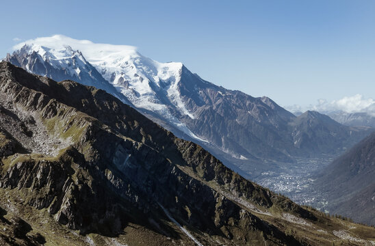 Mont Blanc massif covered with eternal snows with a main 4808m summit over the hidden Chamonix oldest ski resort and capital of alpinism. Refuge Albert 1er view.