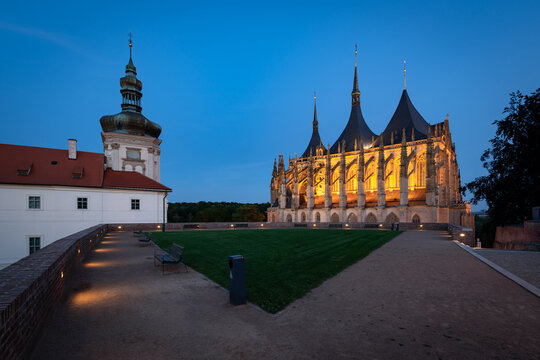 St. Barbara's Church in Kutna Hora, Czech Republic, at twilight. Unique medieval cathedral in the Central Bohemian region.