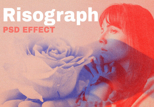 Woman with Risograph Effect