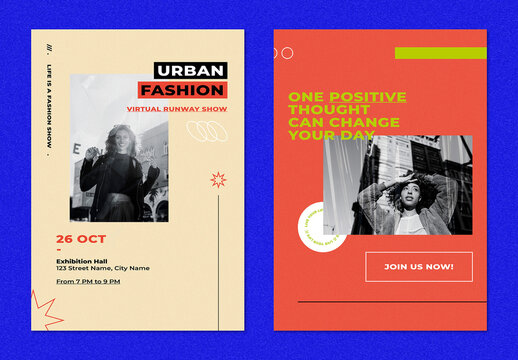 Poster Templates with Retro Color for Fashion Concept